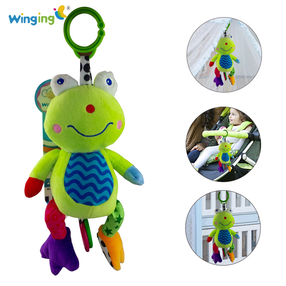Baby Toy Soft Plush Doll Multifunction Squeaker Kids Toy Baby Rattle Ring Bell Crib Bed Hanging Stuffed Animal Frog Teether Toy(China (Mainland))