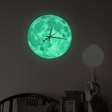 Funlife 30x30cm 12x12 in Glow In The Dark Moonlight Moon Wall Clock Decal For Kid's Room Home Decoration wc1361(China (Mainland))