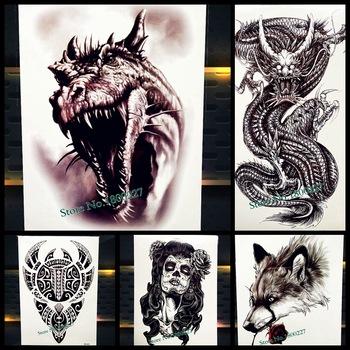 Jurassic Park Temporary Tattoo Stickers Dinosaur Body Art ARm Fake Flash Tattoo 21*15CM Men Women Waterproof Tatoo Black Dragon