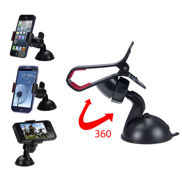 Universal Windshield 360 Degree Rotating Car Mount Bracket Holder Stand for iPhone Cellphone GPS MP4 PDA Tablet Accessories zk76(China (Mainland))