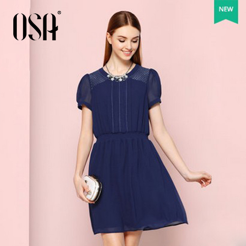 OSA 2015 New Arrivals Women Summer Dress Puff Sleeve Hollow Out Splice Lace Vestidos Elastic Waist Chiffon Party Dress SL505009(China (Mainland))