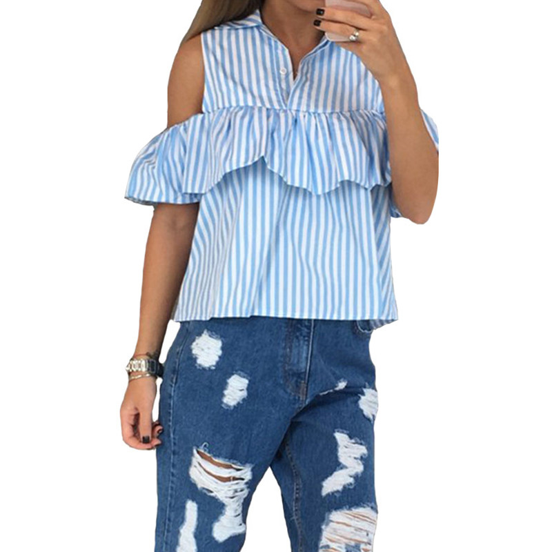 2016 Elegant Sexy Ruffles Off Shoulder Top Women Blouse Shirts Summer Blue White Stripe Blusas Female