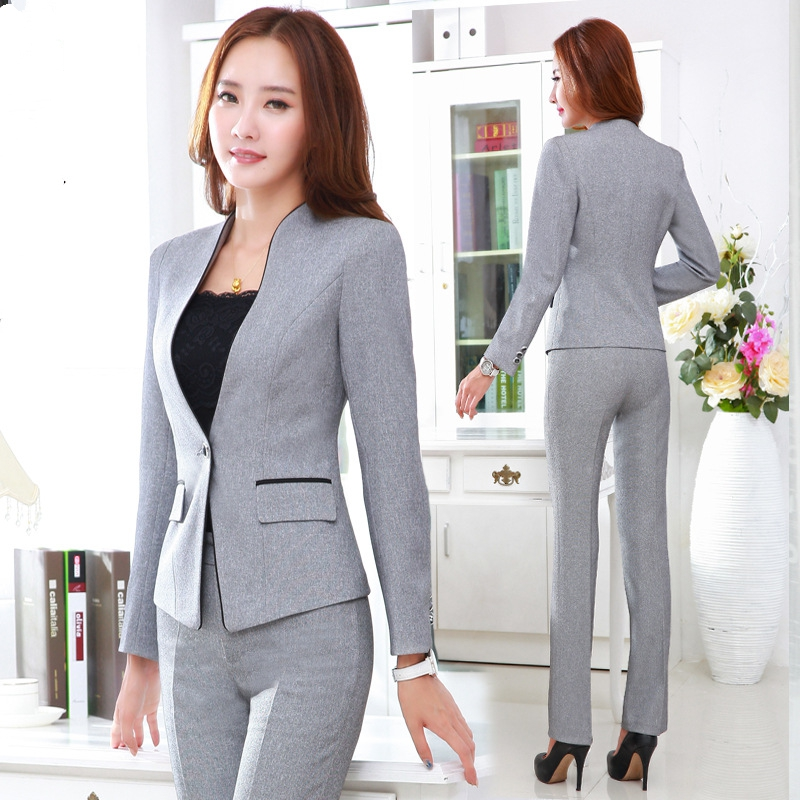 Brilliant 2015 New Arrival Women Office Work Pant Trouser Black Grey Pantalon