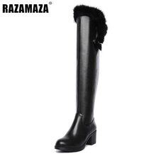 Buy Women Genuine Leather Knee High Boots Woman Square Heel Botas Fashion Fur Warm Winter Shoes Footwear Size 34-39 for $55.35 in AliExpress store
