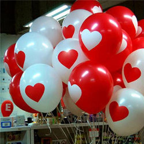 100PCS/lot 12inch Romantic White Red LOVE Heart Latex Balloon Party Wedding Birthday Christmas Event Decoration Ballon Kids Gift(China (Mainland))