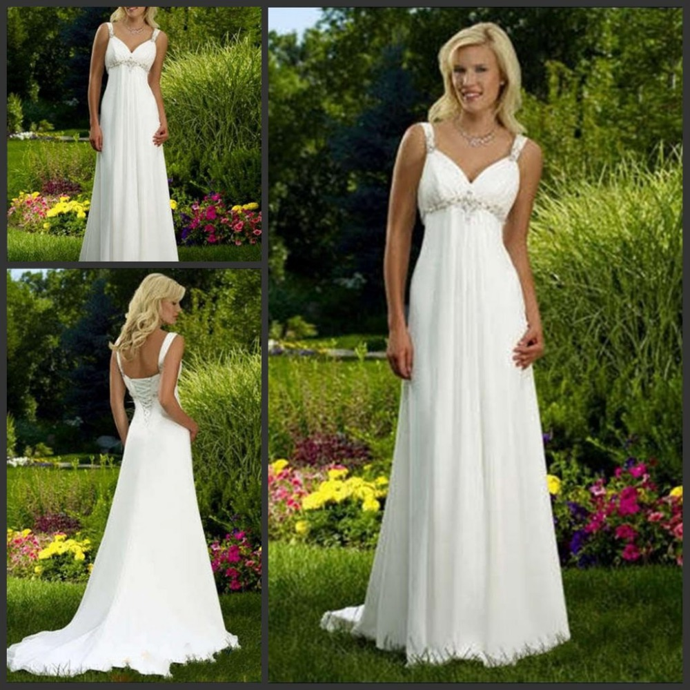 Hot sale cheap v neck empire chiffon wedding dress popular for Wedding dress for sale cheap
