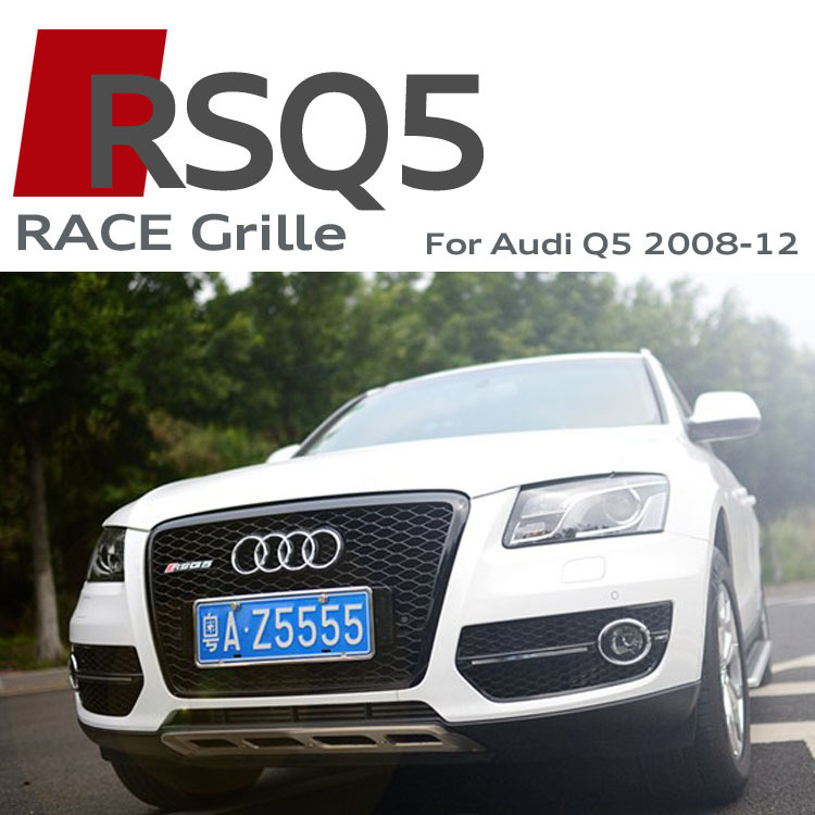 RSQ5 Front Grille ABS Car Bumper Grilles RS Sline S line Grills Race Bumper Grille Black Chrome For Audi Q5 SQ5 2008-2012(China (Mainland))