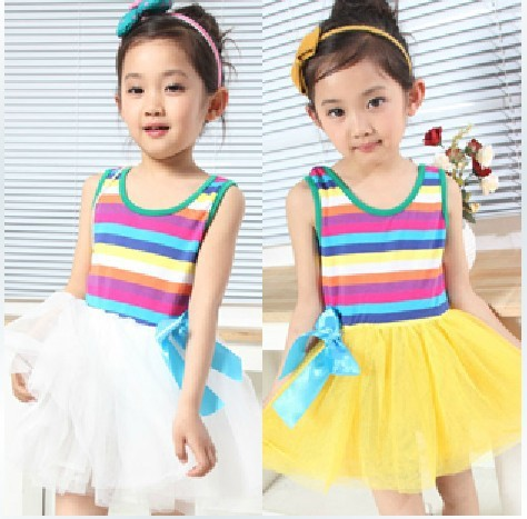 Free shipping plaid bowknot Princess Dress/Children Wear Girl's Dresses,summer wear gallus dress,tutu girls dresses,girls gown(China (Mainland))