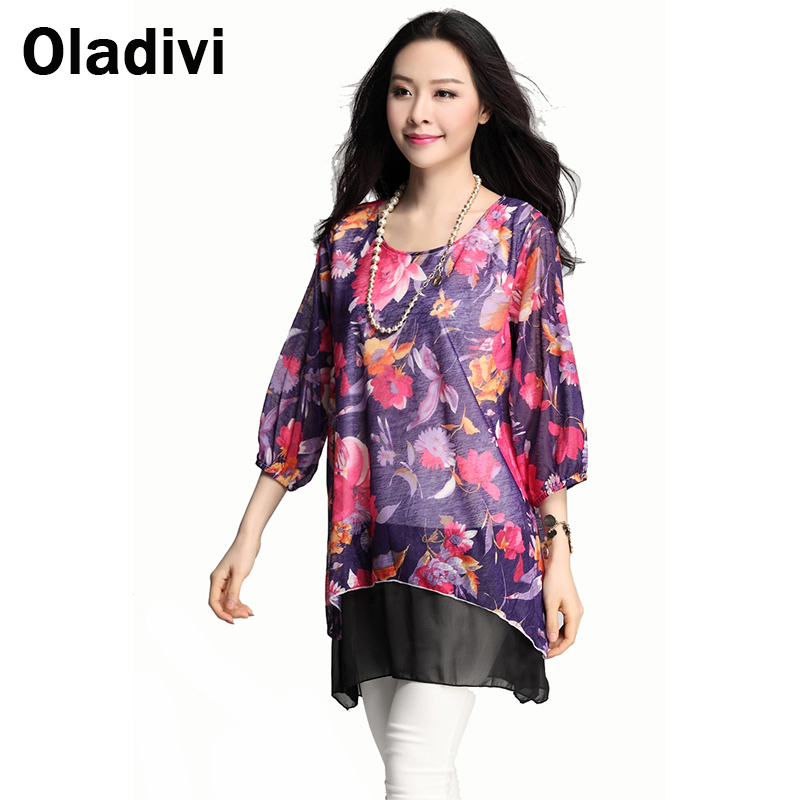 3XL Plus Size Fashion Floral Flowers Printed Top 2015 New Women Print Chiffon Blouse Shirt Casual Female Mini Dress Girl Clothes(China (Mainland))