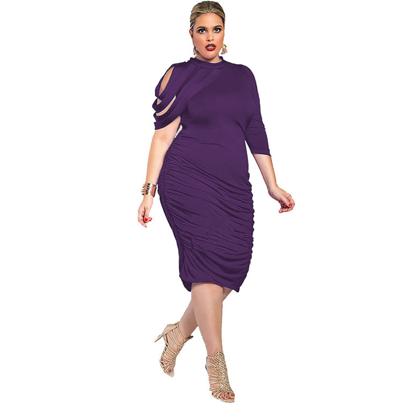 Plus Size Women Clothing New Fashion 2016 Off The Should Party Dresses For Big Women Solid Color