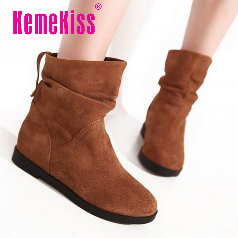 Free shipping half ankle short natrual genuine leather flat boots women snow warm boot shoes CooLcept R1650 EUR size 34-40<br><br>Aliexpress
