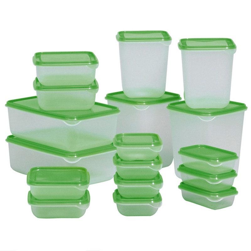 Sealed Crisper Refrigerator Plastic Food Storage Box Preservation Box Container Kitchen Supplies 17pcs/set Hot Sale(China (Mainland))