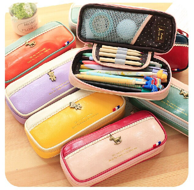 Cute Large Capacity PU Leather Stationery School Pencil Case Cosmetic Bag Pen Office Supplies - Rainbow's store