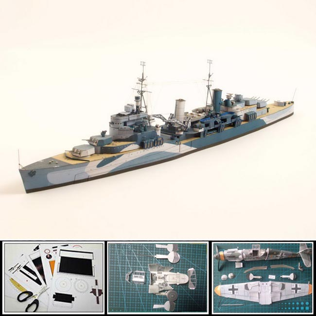 Free shipment Ship Paper Model Battleship British cruiser BELFAST 1:400 scale 47cm Long 3d puzzles toy model handmade papercraft(China (Mainland))