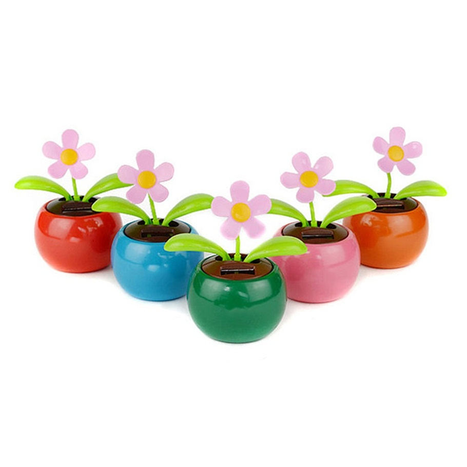 New Flip Flap Moving Dancing Solar Power Flower Flowerpot Swing Solar Car Toy Gift ornaments Home Decorating Plants hot selling(China (Mainland))