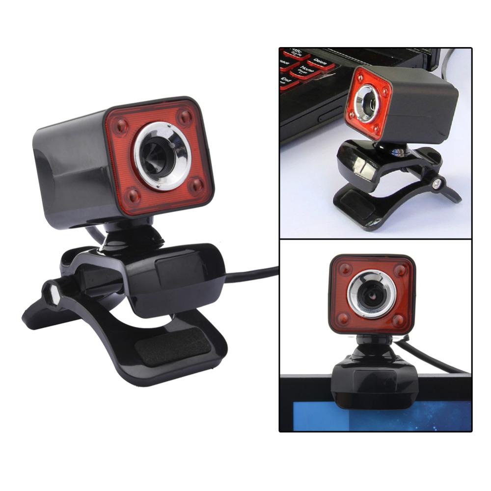 USB 2.0 Full HD 1080P 12M Pixel 4 LED Computer Webcam Web Cam Camera MIC for PC Black+Red<br><br>Aliexpress