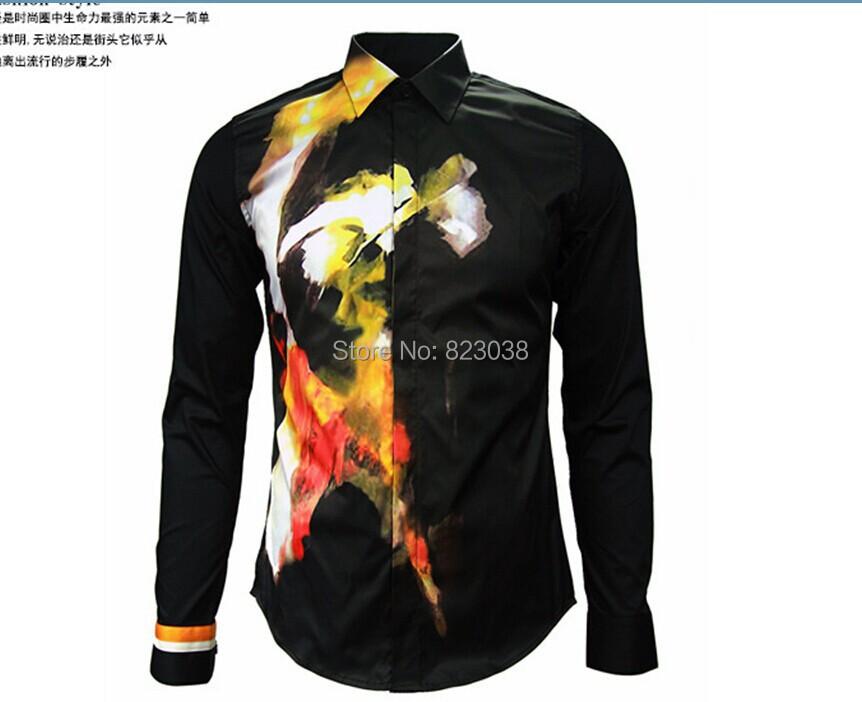 Mens designer brand black print shirt men 39 s slim fit Designer clothing for men online sales