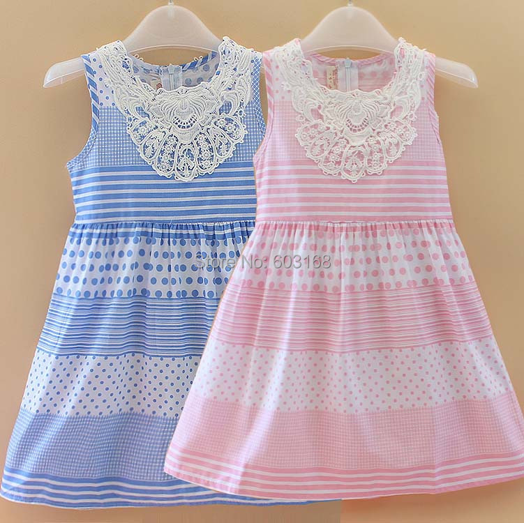 2014 Pink/Blue (6Pcs/Lot) Princess  Girls Dresses Baby /Kids Summer Cotton Dresses{iso-14-5-26-A2}<br><br>Aliexpress