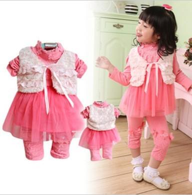 clearance spring and autumn princess lace girl dress 3pcs