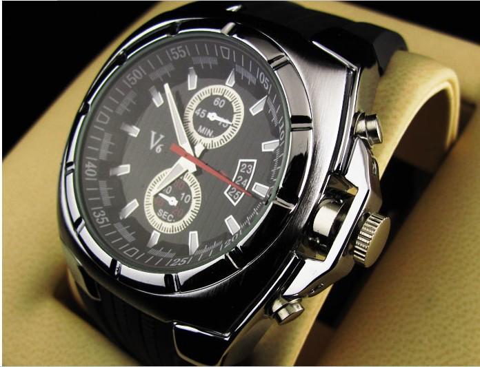RR517 Vogue V6 Strips Hour Marks Round Dial Silicone Quartz watch Men Fashion Wrist Watch Wristwatch
