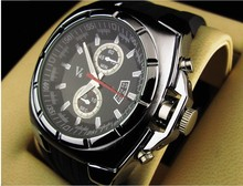 RR517 Vogue V6 Strips Hour Marks Round Dial Wristwatch Men Fashion Silicone Quartz Watch