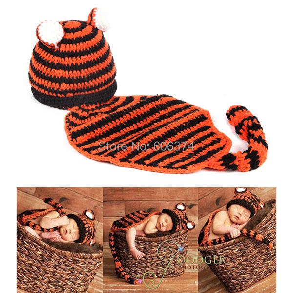 Супер милый мужская новорожденный младенец тигр вязания крючком костюм животных шляпа + пеленки фото фотографии реквизит бесплатная доставка