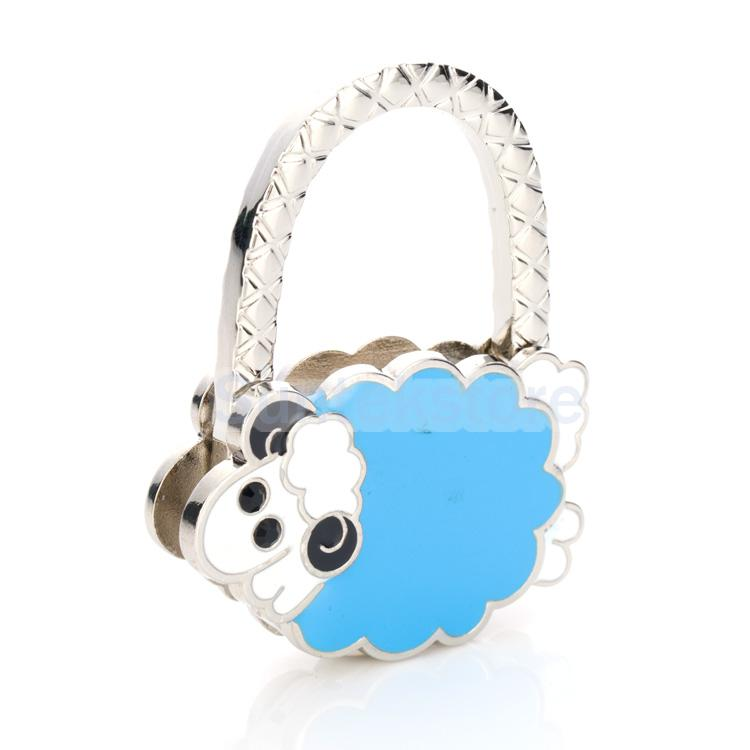 Lamb Table Foldable Purse Bag Hanger Handbag Hook Holder Lady Gift Blue(China (Mainland))