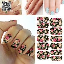 Water Transfer Pink And Red Rose Flowers Design Nail Sticker Resin Nail Art Decorations Full Cover Nail Wraps Decals Accessories