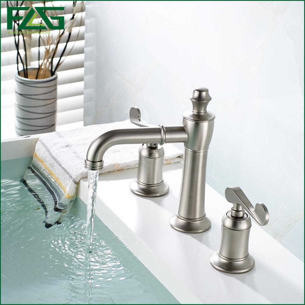 FLG Luxury Basin Faucet Dual Holder Three-hole Bathroom Faucet Brushed Nickel Torneiras Para Banheiro Quente E Frio 2 Handle 301(China (Mainland))