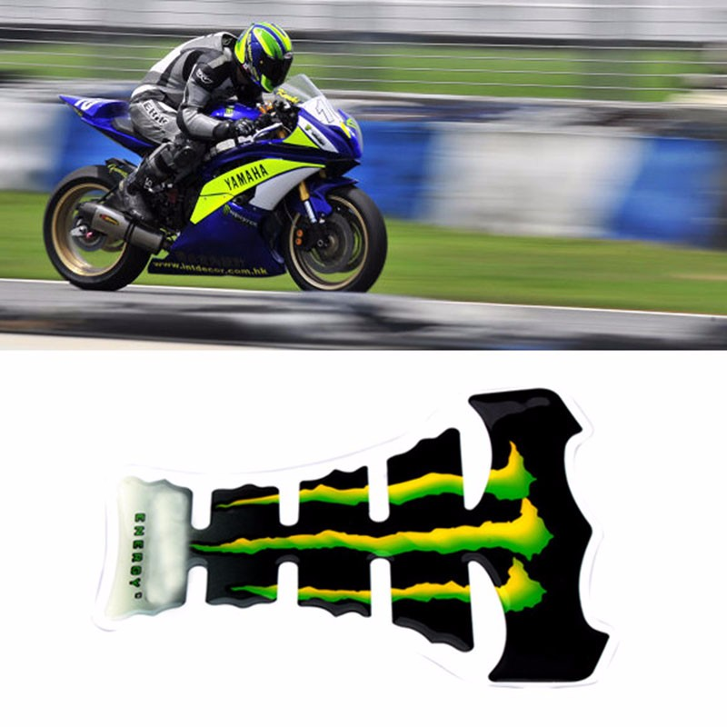 New Arrival Cool Flame Motorcycle Gas Tank Pad Sticker Carbon Fiber Tankpad Protector Bicycle Motorcycle Sticker Green BHU2 (2)