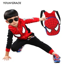 2016 New Design Kids Spiderman Tracksuit with School Bag Fashion Boys Spring Cotton Spiderman Sports Suit Girls Sports Set, C171(China (Mainland))