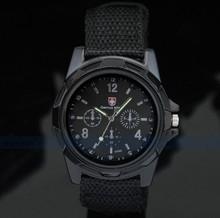 Venta caliente marca de calidad bombardero ejército militar negro piloto correa de lona deportes hombres muchacho de cuarzo relojes de pulsera moda
