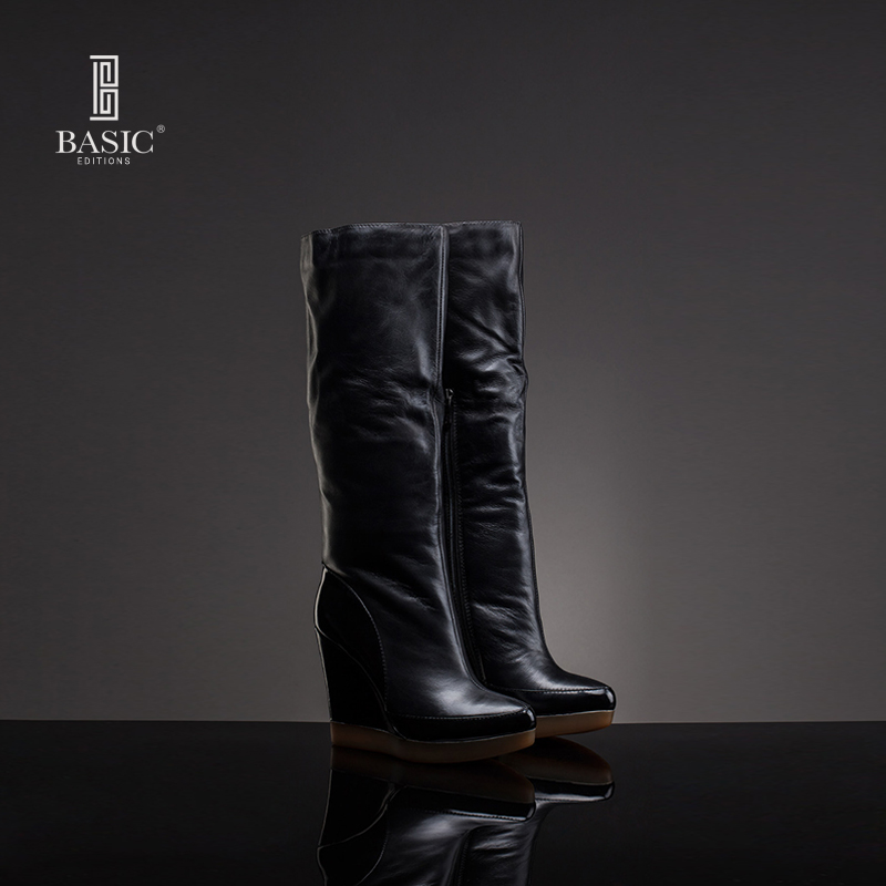 Basic Editions 2014 Winter Genuine Leather High Platform Dress Boots <br><br>Aliexpress