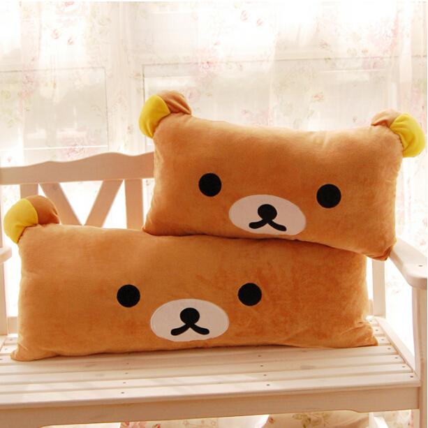 1pc Huge Size Cartoon Rilakkuma Bear Plush Pillow Large Stuffed Sofa Cushion Easy Bear Long Pillow(China (Mainland))
