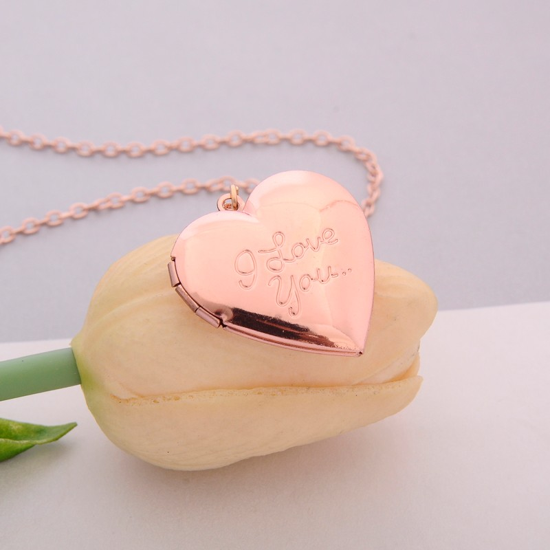 Vintage Gift For Lover Couples Custom Message Necklace Pendant - Rose gold
