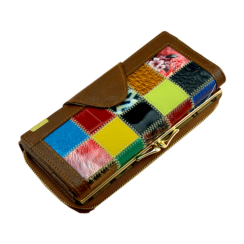 Brand Women Long Patchwork Genuine Leather Wallet Large Capacity 3 Fold Female Coin Purse Girl Clutch Wallet Women Card Holder(China (Mainland))