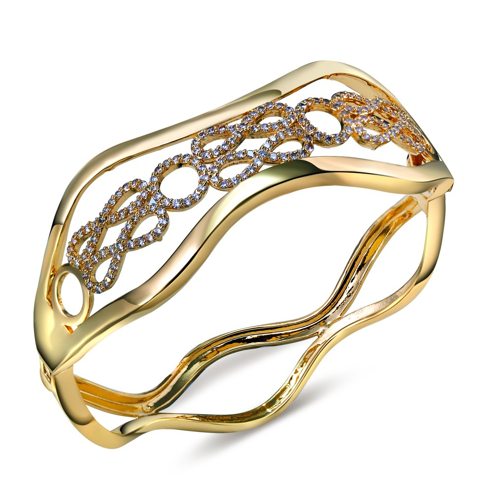 Sweet Bracelets and bangles for women gold plated with Cubic zirconia Classic Bangle New design fashion Jewelry Free shipment(China (Mainland))