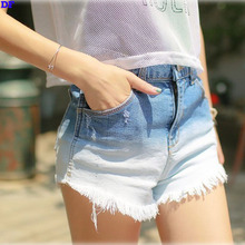 Gradient Denim Shorts 2015 Most Fashion Hole Shorts Women Tassel Short Feminino Summer Style Trousers Pantalones Cortos Mujer DF