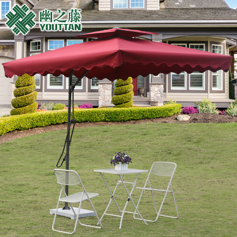 Outdoor leisure furniture folding umbrella balcony tables and chairs shaded garden patio booth large beach Rome<br><br>Aliexpress