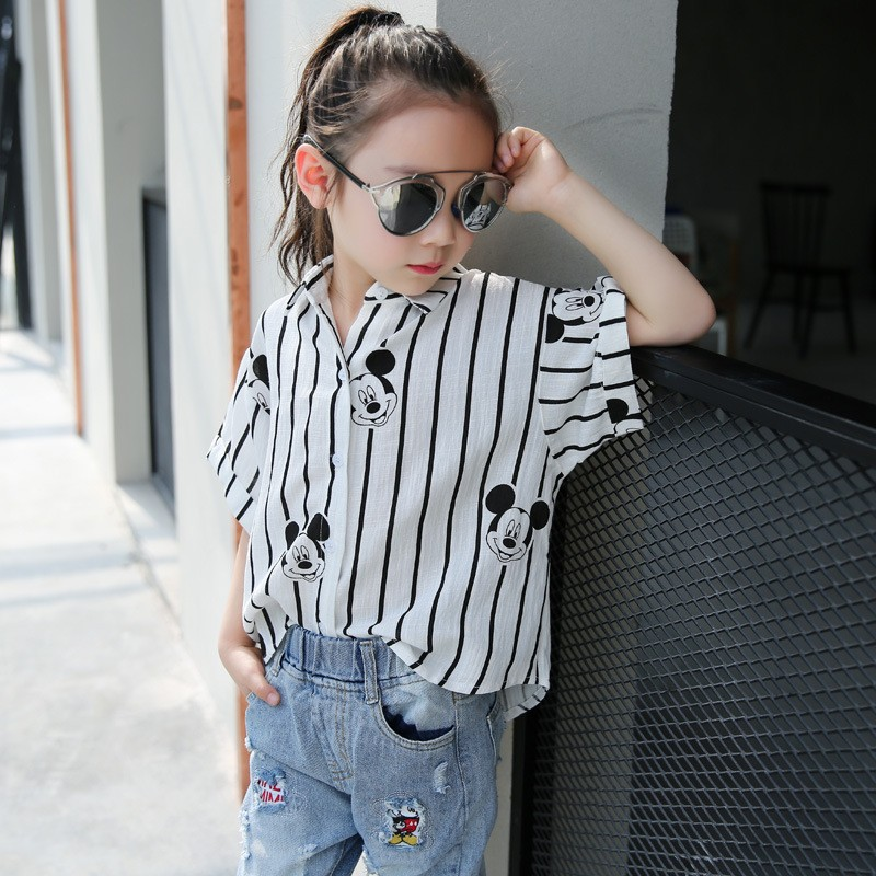 Spring and Summer 2016 Loose Short Sleeved Strip Blouse for Big Girl  Kid Clothing