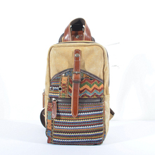 New Brand Style Canvas Genuine Leather Multi Function Men Women Chest Day Back Pack Handbag Shoulder