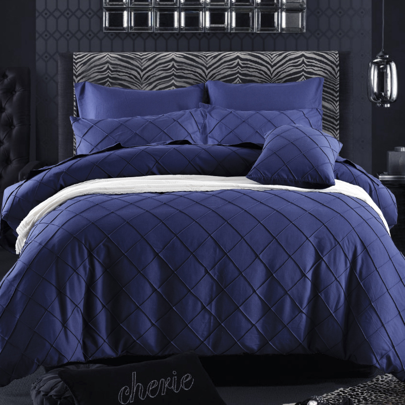 Promotion SALE Dark Blue 4pc Bedding Sets (1 Duvet Cover +1 Bedsheet+2 Pillowcase) Home Bedlinen Quilt Cover Set JS004(China (Mainland))