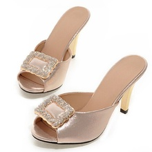 Summer Women's Sandals Japanned Leather Open Toe Sweet Rhinestone High Heels Slipper Gold Sliver Ladies Shoes Woman Big Size 43 - shoes of stars store