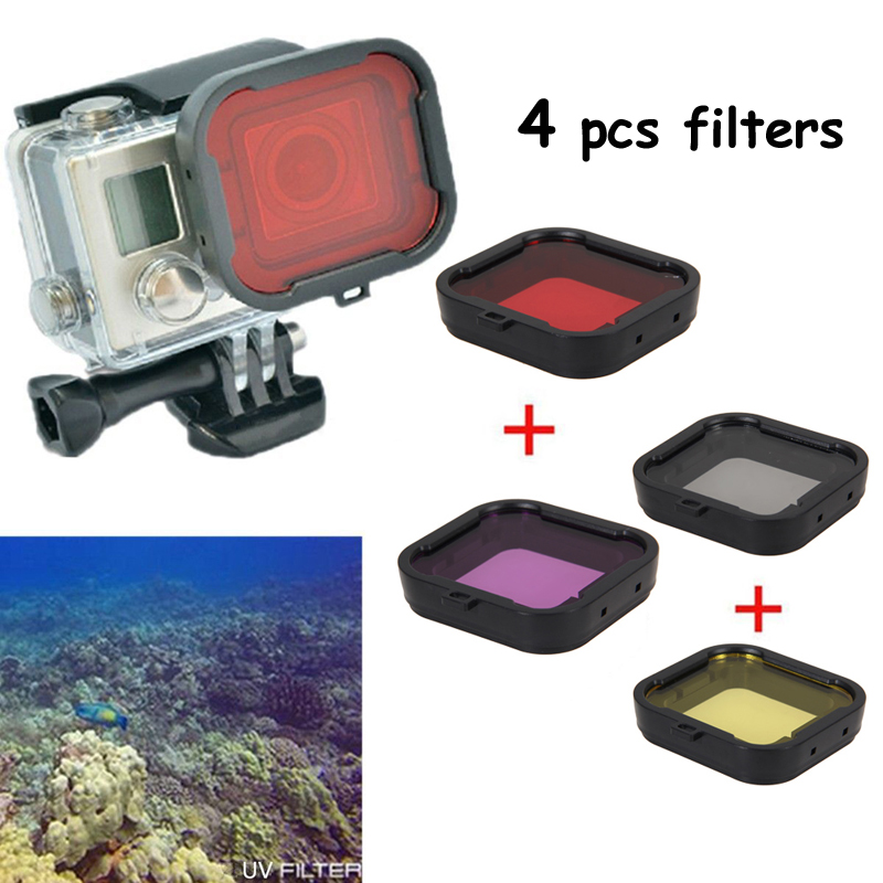 4pcs Red Yellow Purple Gray Square Underwater Diving Filter Lens Cover UV Filter For GoPro Hero 4 <br><br>Aliexpress