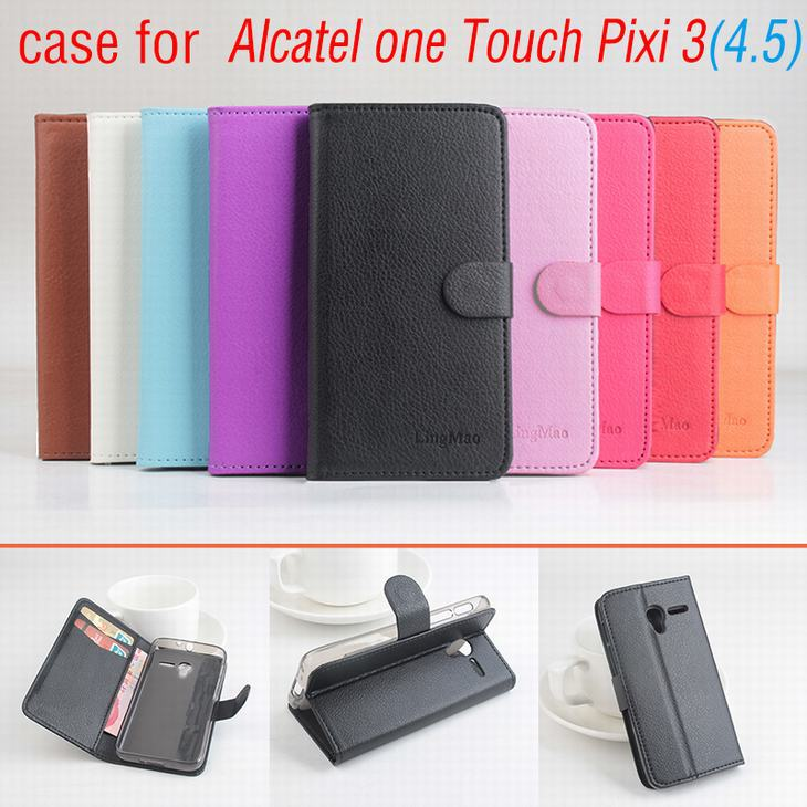 9 colors Leather case For ALCATEL One Touch pixi 3 4.5 inch Flip Cover case housing With Card Slot OneTouch pixi3 Phone Cases(China (Mainland))