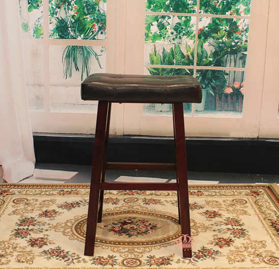 Free Shipping Accent Stool Cotton Wood Walnut PU Leather