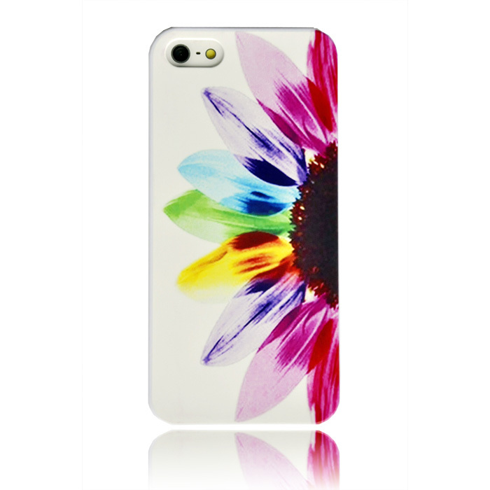 5s Ultra Thin Lover Half Sunflower Print Rainbow Flower Hard Plastic Case for apple iphone 5 5S 5G Cover Mobile Cell Phone Cases(China (Mainland))