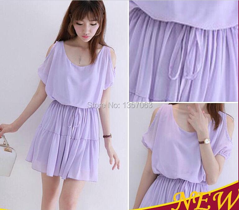 2015 elegant summer women pleated casual dress korea short-sleeve purple high quality chiffon dresses size M L WDR0015(China (Mainland))