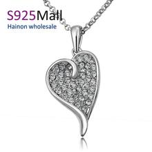 2015 New Rhinestone Necklace N708 Wholesalenickle Free Anti-allergic18k Real Plated Women Fashion Heart Jewelry Free Shipping (China (Mainland))