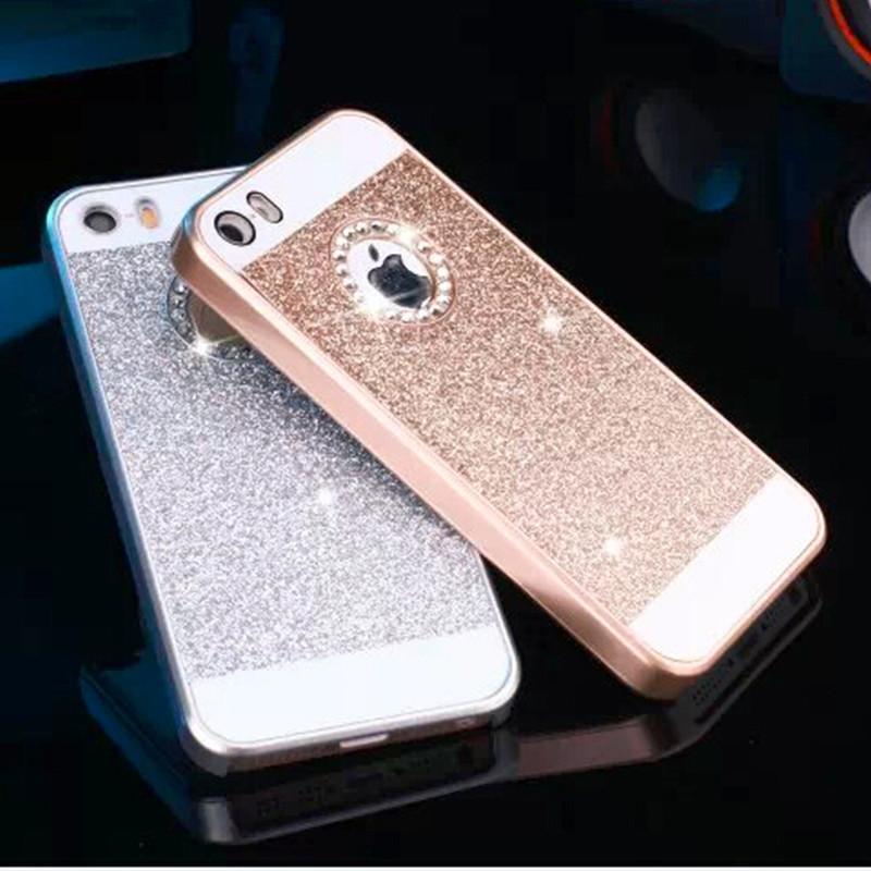 5s Luxury Glitter shimmering powder + PC Hybrid Protective case for iphone 5G 5S Hard Rhinestone back cover(China (Mainland))
